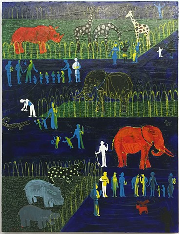 Joey Wozniak acrylic painting on canvas of figure and zoo animals landscape