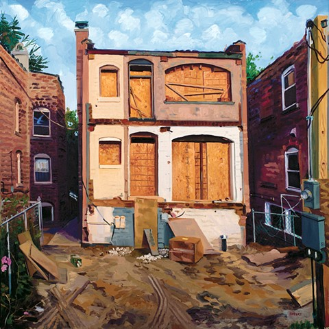 Emily Rapport oil painting Chicago cityscape of buildings and homes in construction transition