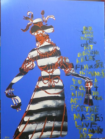 Joey Wozniak acrylic painting on canvas of figure and text