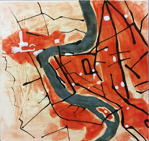Jason Messinger ceramic tile modular art mural of map based design