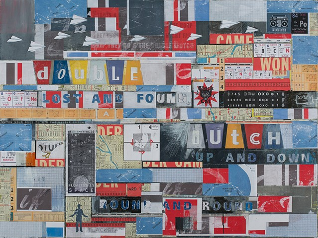 Matt Nichols mixed media collage painting with map chart sign text elements