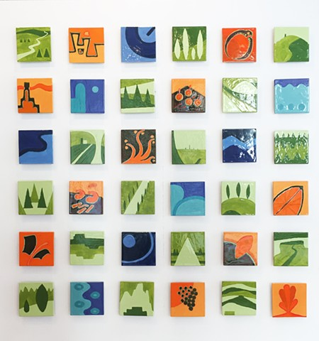 Jason Messinger ceramic tile modular art mural of blueprint based design