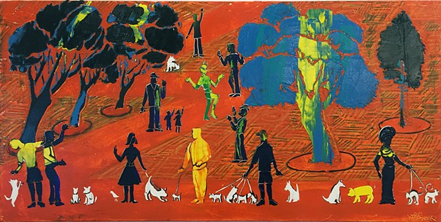 Joey Wozniak acrylic painting on canvas of figures and pets landscape