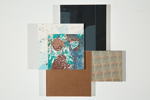 Jordan Scott  mixed media wall art collage on multiple wood panels