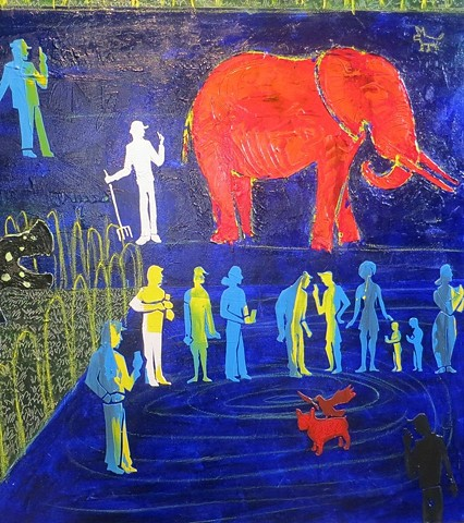 SOLD - Night at the Zoo - detail