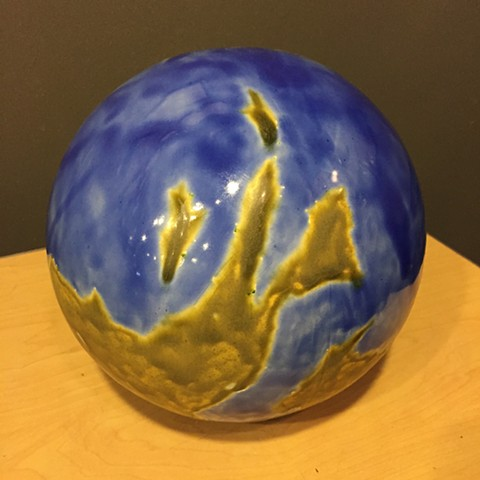 Jason Messinger ceramic globe sculpture of fantasy planet