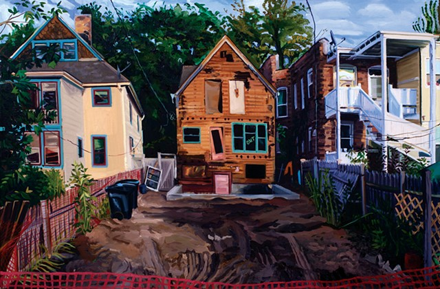 Emily Rapport Chicago cityscapes of buildings and homes in construction transition