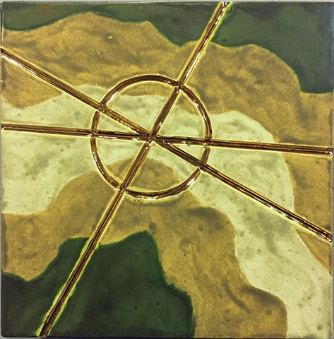 Jason Messinger ceramic tile modular art mural of ley lines map design
