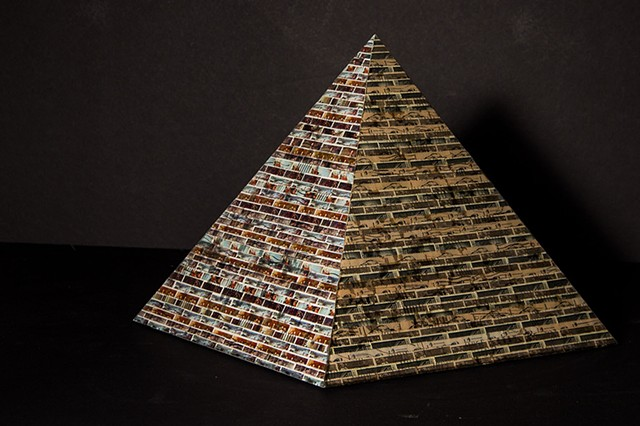Jordan Scott U.S. Postage Stamps collage pyramid sculpture on wood