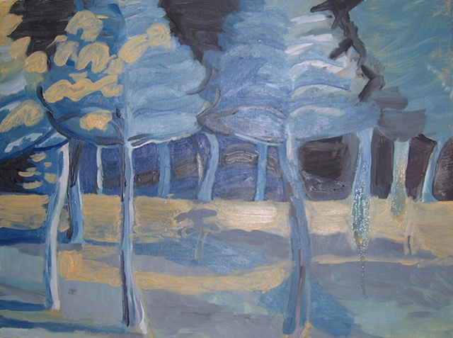 Backyard Trees Underpainting