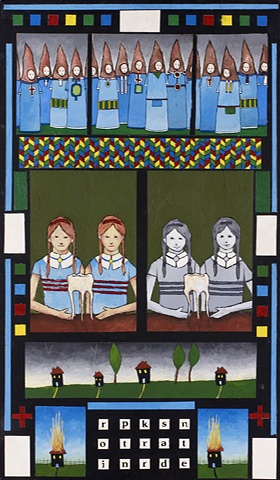 self taught artist gouache folk art painting there is a ghost in the house  www.davidruhlman.com