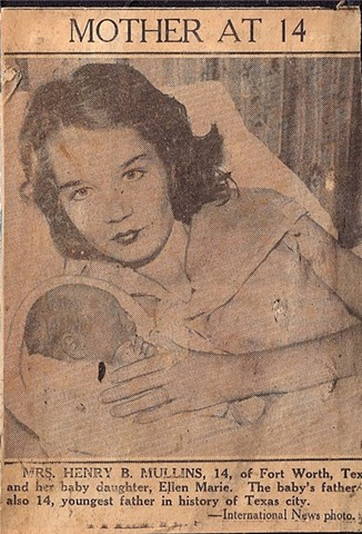 Mother at 14 Mrs. Henry B. Mullins, 14, of Fort Worth, Texas and her baby daughter, Ellen Marie.  The baby's father is also 14, youngest father in history of Texas city.