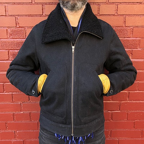 Shearling Lined Waxed Denim Winter Coat