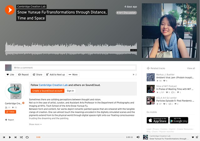 "Snow's Interview Podcast of ""Transformations through Distance, Time and Space"" with the Cambridge Creation Lab by Ivanna Muse"