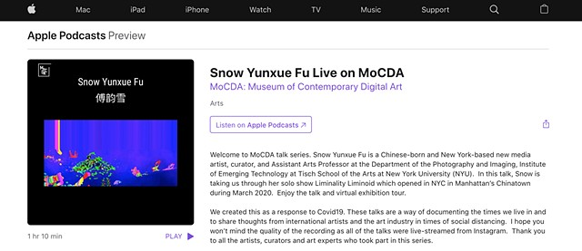 Snow Yunxue Fu Artist Interview and Solo Show Virtual Walk Through with Museum of Contemporary Digital Art (MoCDA) on Apple Podcast