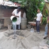 Making the cement volcano