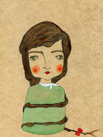 girl, woman, portrait, watercolour, button up, cute, painting, bow, ribbon, mariella, green, retro, vintage