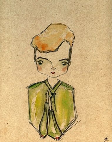 girl, woman, portrait, watercolour, button up, cute, painting, shapiro, cross dressing, schiele, man, drag king