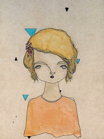 girl, triangles, geometric, portrait, watercolour, peachpatrol