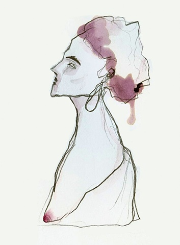 woman, fashion, red, purple, watercolour, illustration, indigo dye