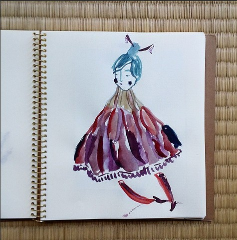 Yesterday afternoon I purchased a cute square journal, and couldnt put the brush down all night! This is a little magic lady from the middle of the pack.