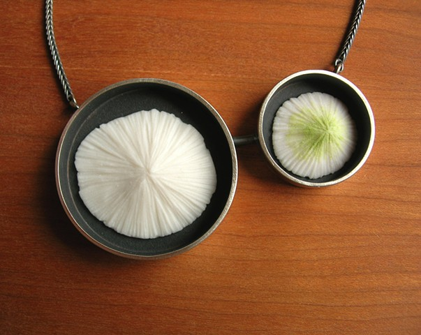 mold porcelain green white stain silver oxidized framed necklace