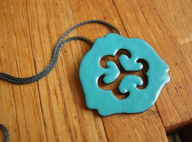 enamel necklace pendant lily