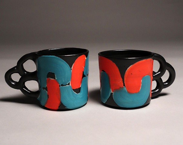 Turquoise and Red Cups