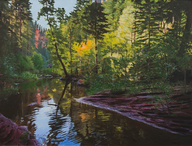 Acrylic landscape of Oak Creek Canyon above Sedona, Arizona