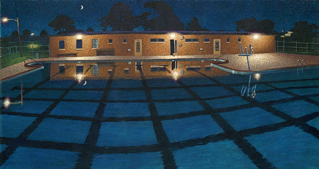 large gouache pointillist painting of a swimming pool at night