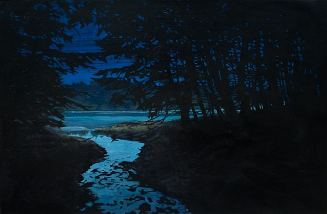 Acrylic Nocturne of Lake in Marin County