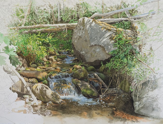 watercolor landscape of stream in the Sangre De Christo