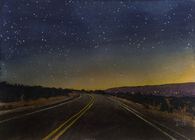 watercolor nocturne of Turquoise Trail near Santa Fe