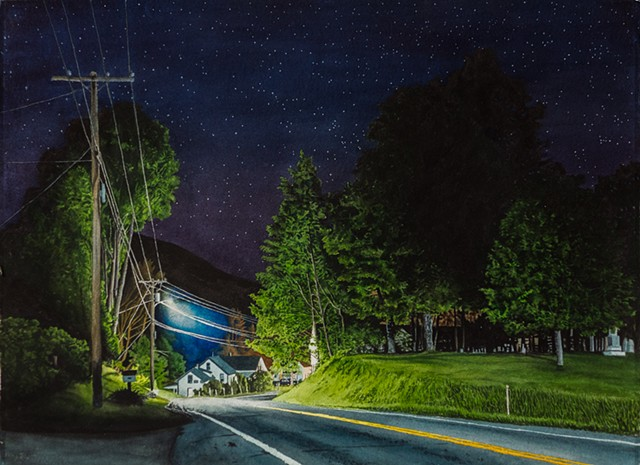 watercolor nocturne of highway in Vermont
