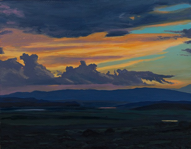 Acrylic landscape of Northern New Mexico Sunset