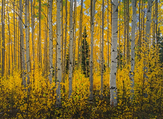 acrylic painting of aspen trees in fall in the sangre de christo mountains