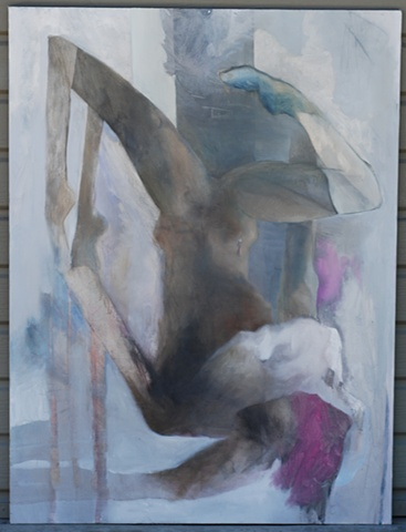 oil painting of falling woman by artist Lori Markman