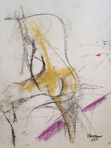 abstract expressive  male nude figure drawing by artist Lori Markman