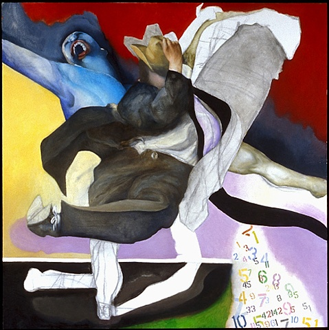 oil painting of dancing man and blue man by artist Lori Markman
