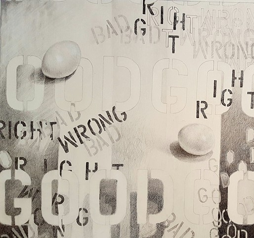 abstract pencil drawing of words and eggs by artist Lori Markman