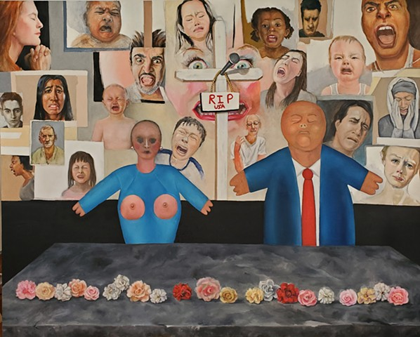 political painting Trump faces of suffering people pain anger crying babies portrait