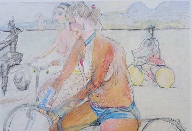 Drawing of Nude Women on Bicycles at Burning Man by artist Lori Markman