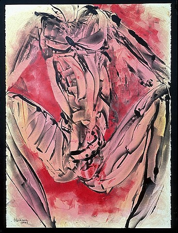 monoprint drawing of female figure in pink and scarlet by artist Lori Markman