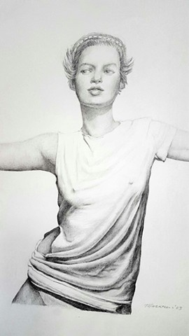 pencil drawing of beautiful woman in tee shirt by artist Lori Markman
