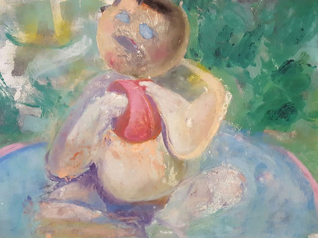 Monoprint Drawing with Pastel of Little Boy in Pool with Red Ball by artist Lori Markman