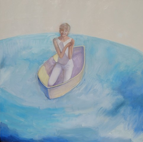 oil painting of little girl in boat on water by artist Lori Markman