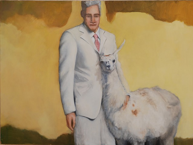 oil painting of man in white suit with Llama by artist Lori Markman