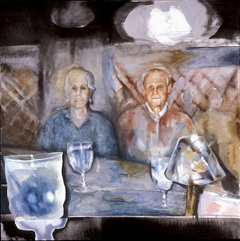 oil painting of old man and woman in restaurant by artist Lori Markman
