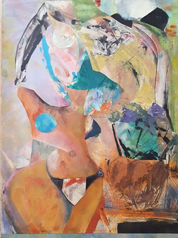bright abstract mixed media collage of woman with a vase and flowers.