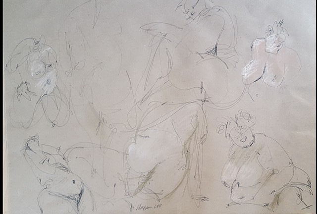 quick figure drawing of female nude in pastel and charcoal by artist Lori Markman